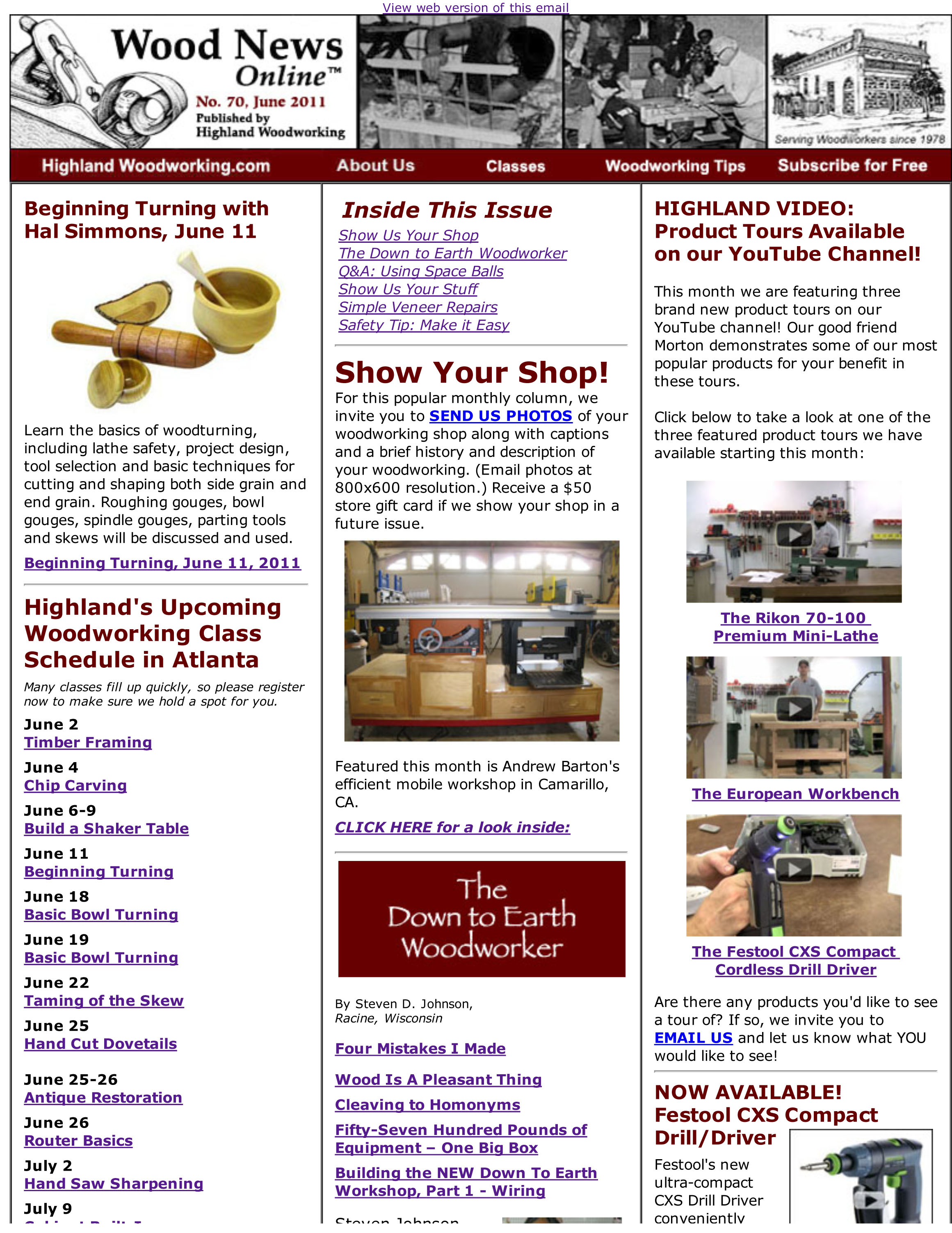 Highland Woodworking Wood News Online No 70 June 2011
