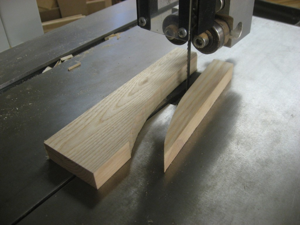 Bandsaw out the shape, close to the line