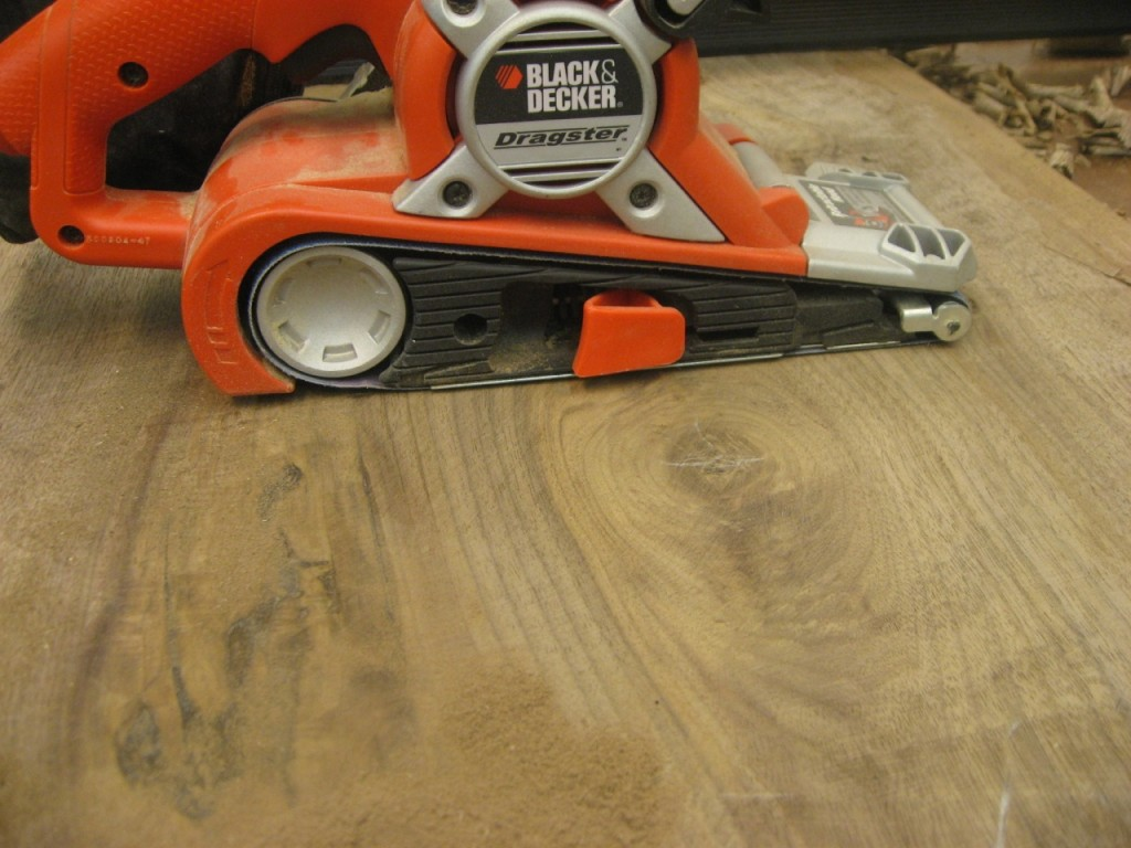 Belt sander quickly removes material around knots
