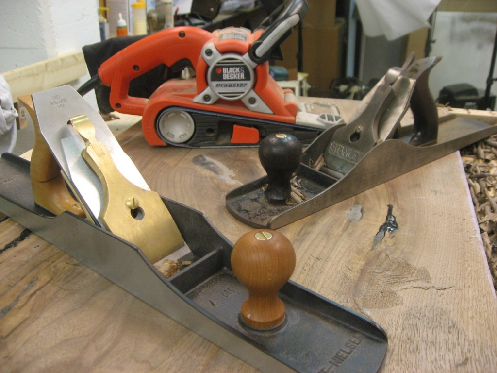 Tools for flattening: #6, #7 and a belt sander!