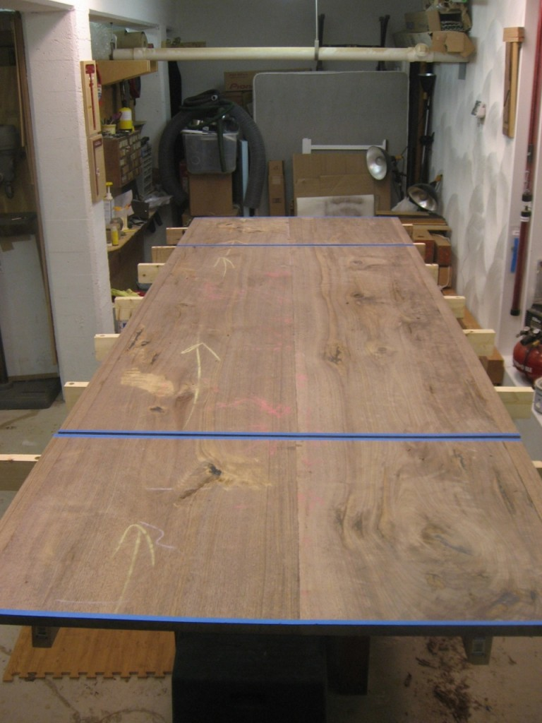 The table top with the leaves cut to size