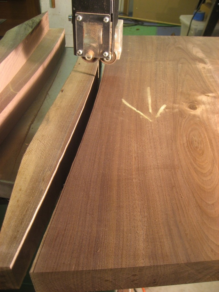 "I use the bandsaw to cut within 1/16"" of the curve line."
