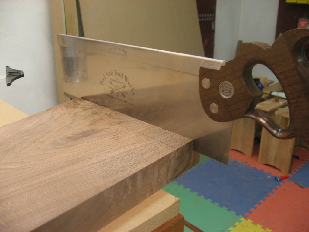 I define the tenon shoulders with a Bad Axe Tenon Saw.