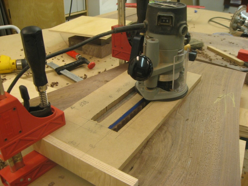 The router runs along the template