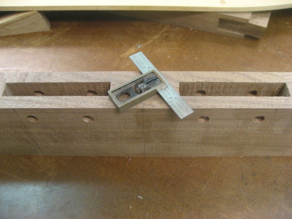 "Mortise drilled with 1/2"" holes for pegs."