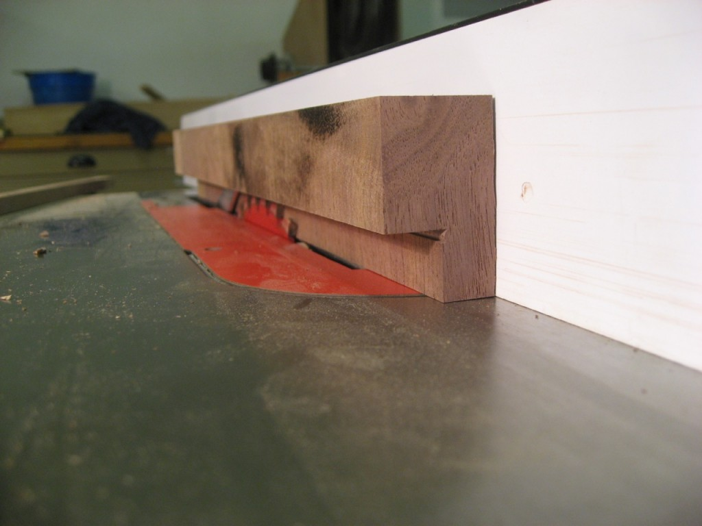 Two passes on the table saw to cut the button shape.