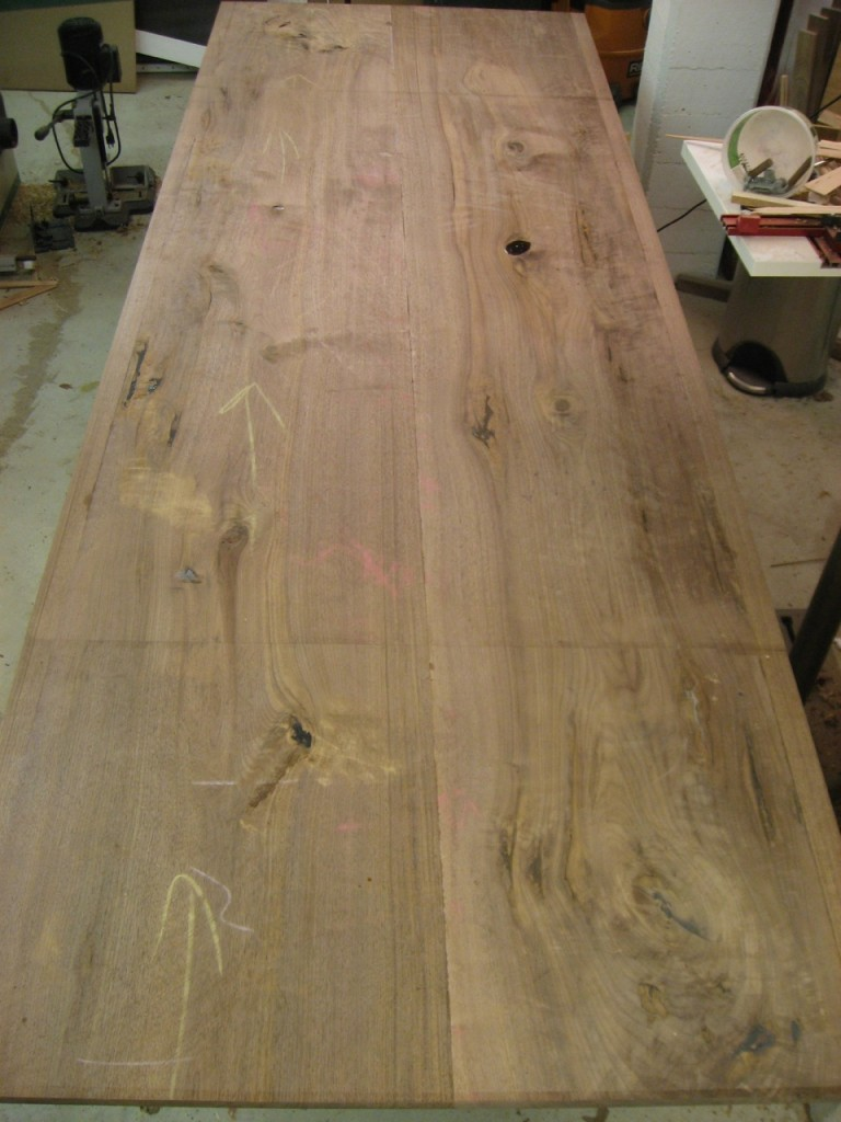 Walnut Table Top: Ready for final flattening.