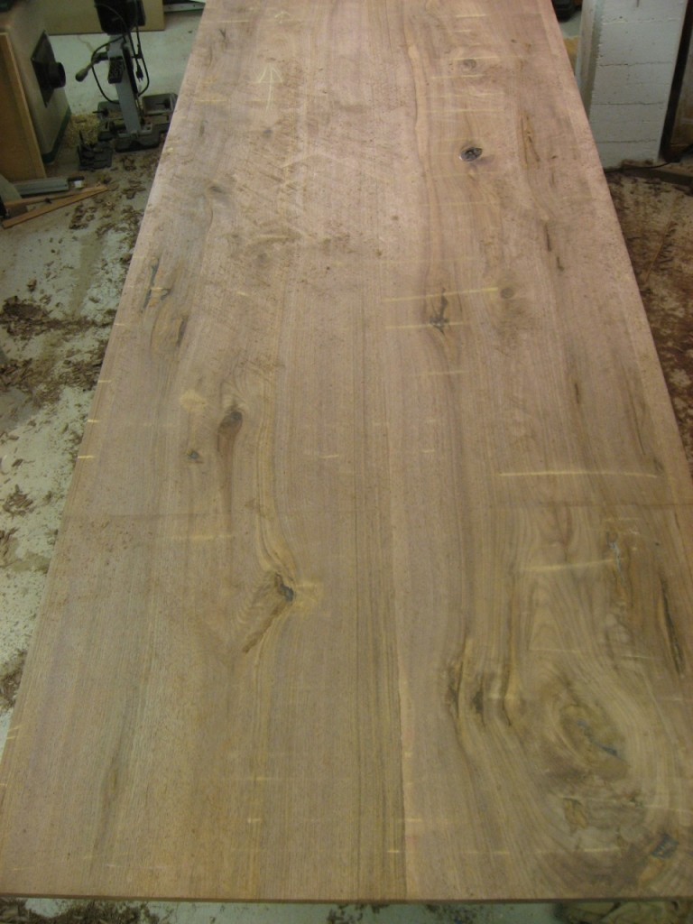 Walnut Table Top: After flattening, low spots still have chalk