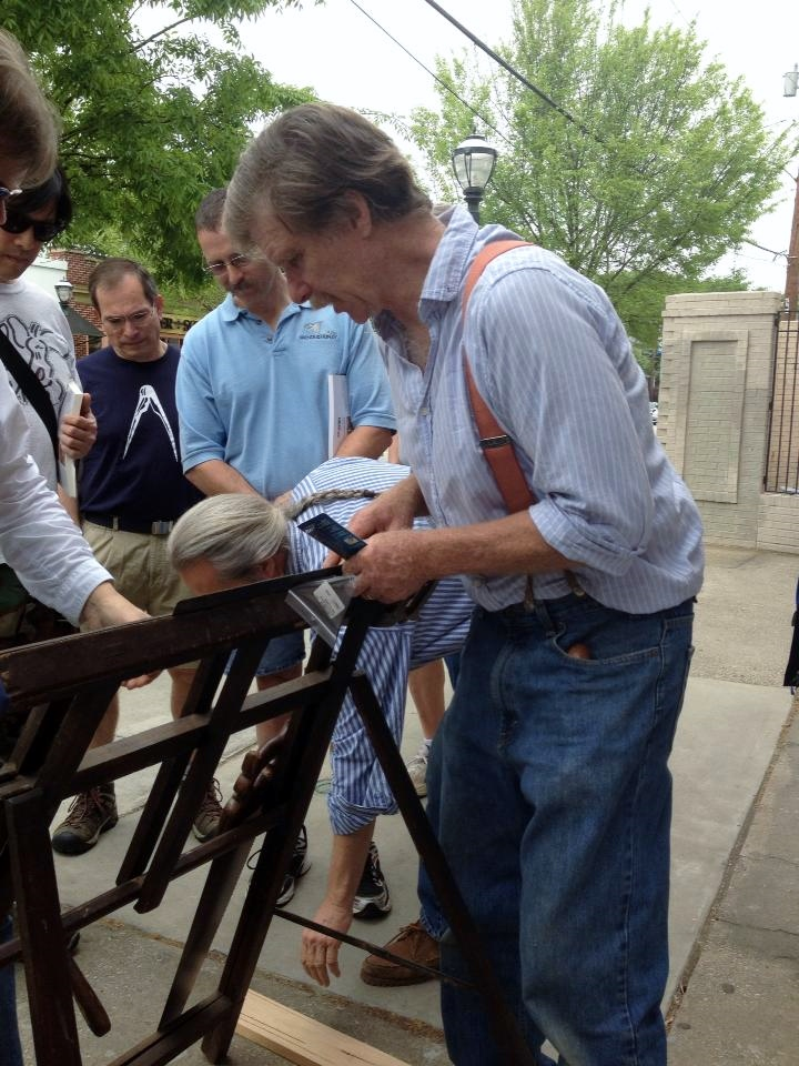 Later in the day, Roy moved outside to demonstrate sharpening to passersby
