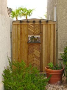 Santa Fe Style Garden Gate made of clear Redwood.