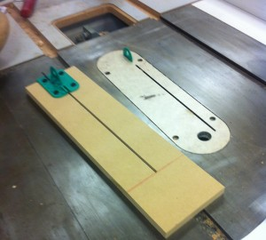 MDF Template with Jig in place for Drilling