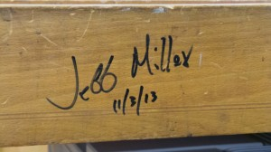 Jeff's signature on the instructor's bench at Highland.