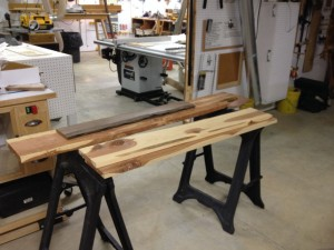 Lumber for a current project could be stored, but I usually keep it close at hand on sawhorses nearer to the work area.