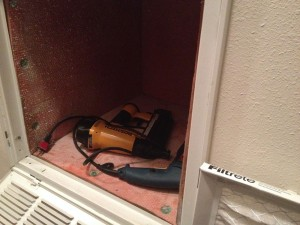 "Can't you just see it? A week goes by before I get back to the handrail, then, ""Now, I wonder where I put the drill and the nailer."" At least they will be good and dry by the time the heater gets its annual Fall preventive maintenance. Alan, our AC repair guy, will think he's hit a bonanza when he takes the filter out!"