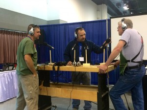 The gentlemen from Modern Woodworker's Association (MWA) recording their show with Mike Siemsen from Mike Siemsen's School of Woodworking