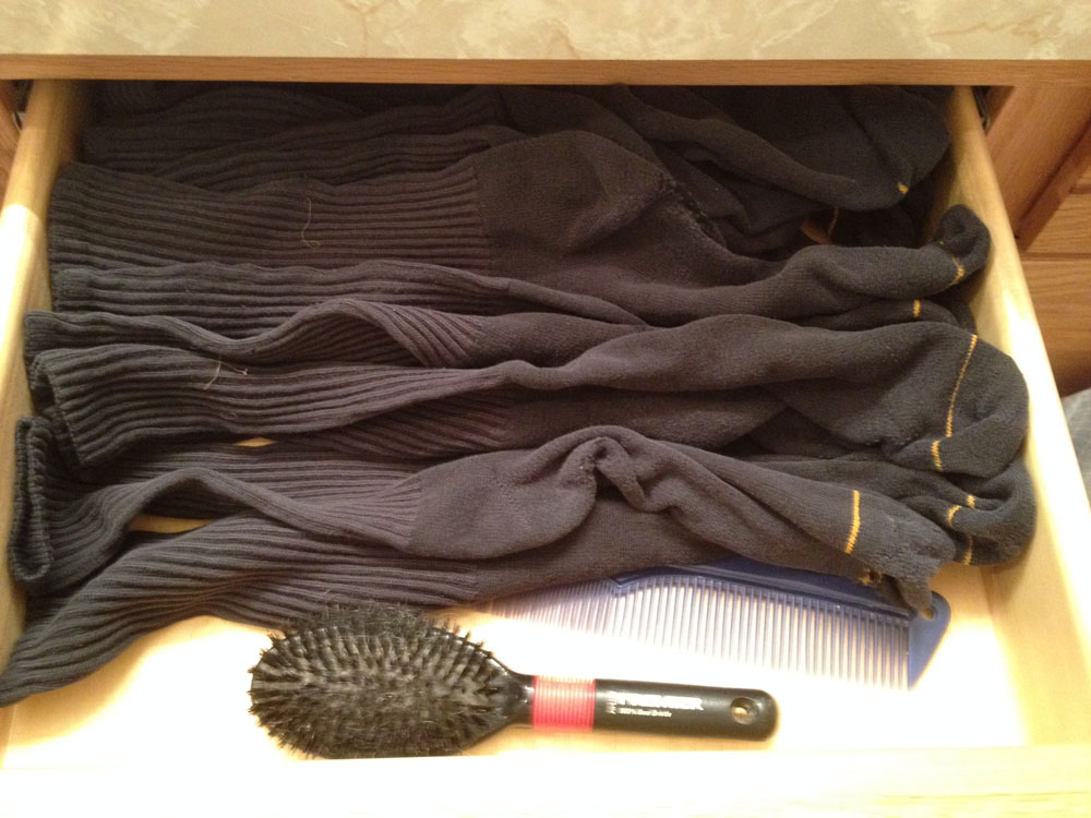 Grab and run. Every sock in the drawer matches and they all fade and age at the same rate. When the bottom wears out, it becomes a polishing rag, finish application rag, or cleaning aid.