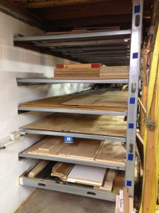 Plywood storage is sufficient for full sheets as well as cutoffs varying from oak to CDX to hardboard and pegboard.